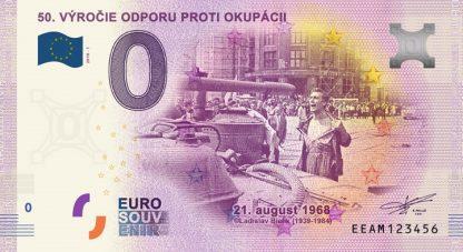 0 Euro Souvenir bankovka - 50.VÝROČIE ODPORU PROTI OKUPÁCII 2018-1