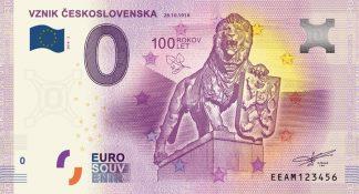 0 Euro Souvenir bankovka - VZNIK ČESKOSLOVENSKA 28.10.1918 - 2018-2